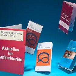 Einladungsflyer zu den Roundtables ›Wirtschaftspionage‹ und ›Elb-Philharmonie‹, Broschüre ›Financial Reporting Update 2015‹